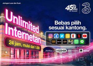 Bebas Internetan Pakai 3 Indonesia Mulai Rp 1.000