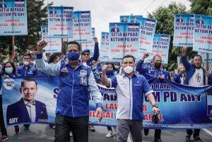 Kisruh Kudeta Partai, Kader Demokrat Solo Raya Turun ke Jalan